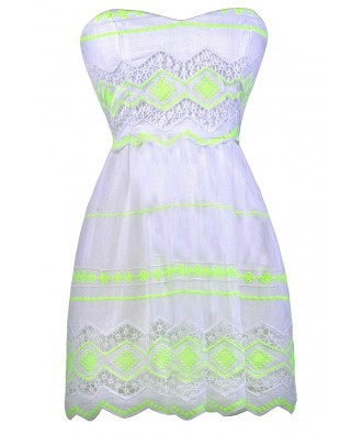 Off White Summer Dress, Neon Yellow Sundress, Neon Lime Sundress, Off White Yellow Summer Dress, Cute Summer Dress, Cute A-Line Dress, Off White A-Line Dress, Off White Sundress