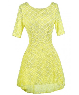 Yellow Lace Dress, Yellow Lace Summer Dress, Neon Lace Dress, Neon Yellow Dress, Yellow Lace Skater Dress, Cute Summer Dress, Cute Party Dress, Lace Summer Dress, Yellow Summer A-Line Dress