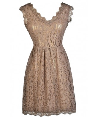 Mocha Lace Dress, Taupe Lace Dress, Brown Lace Dress, Mocha Lace A-Line Dress, Mocha Party Dress, Mocha Summer Dress, Mocha Cocktail Dress, Light Brown Lace Dress, Taupe Lace Summer Dress