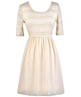 Cream Lace Dress, Beige Lace Dress, Cream Lace A-Line Dress, Beige Lace A-Line Dress, Cute Summer Dress, Beige Lace Summer Dress, Cream Lace Summer Dress, Cream Party Dress, Beige Party Dress