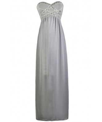 Grey Embellished Maxi Bridesmaid Formal Prom Dress
