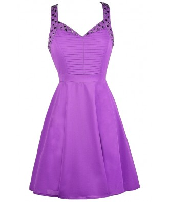 Purple Party Dress, Purple Beaded Dress, Purple Embellished Dress, Purple A-Line Dress, Purple Summer Dress, Purple Beaded Dress