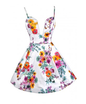 Lovecat Floral Print Dress, Floral Print Sundress, Floral Print A-line Dress, Plunging Neckline Floral Print Dress, Cute Summer Dress, Cute Sundress, Floral Print Sundress, Plunging Neckline Floral Print Sundress