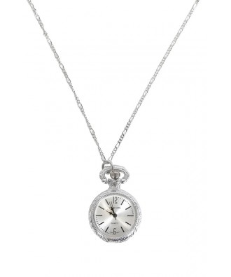 Cute Silver Necklace, Silver Watch Necklace, Silver Watch Pendant, Silver Clock Necklace, Silver Clock Pendant, Pocket Watch Necklace, Cute Jewelry