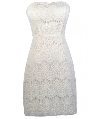 Off White Lace Strapless Dress, Off White Lace Pencil Dress, Off White Lace Rehearsal Dinner Dress, Off White lace Cocktail Dress