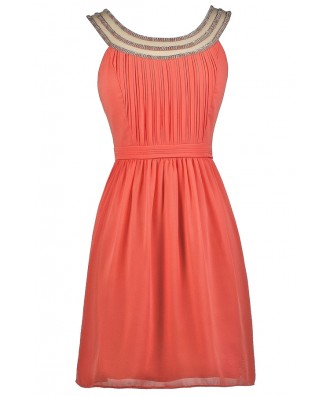 Coral Party Dress, Coral Embellished Dress, Coral Beaded Neckline Dress, Coral Bridesmaid Dress