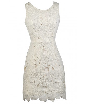 Ivory Lace Sheath Dress, Ivory Lace Rehearsal Dinner Dress, Ivory lace Bridal Shower Dress
