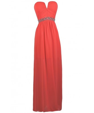 Coral V Dip maxi dress, Cute Coral Prom Dress, Coral Strapless Maxi Dress, Coral beaded Maxi Dress