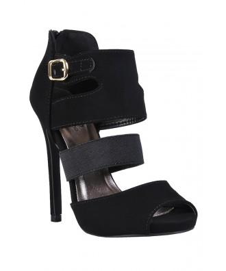 Black Bootie Sandal, Cute Black Sandal, Black cage Sandal