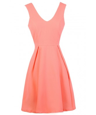 Cute Neon Coral Sundress, Neon Coral Summer Dress, Neon Coral A-Line Dress, Neon Coral Party Dress