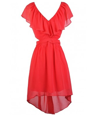 Coral Ruffle Dress, Cute Coral Dress, Coral High Low Dress, Coral Party Dress, Coral Summer Dress, Coral Cocktail Dress, Coral Chiffon Dress
