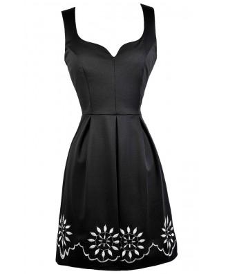 Cute Black Dress, Little Black Dress, Black Sundress, Black A-Line Dress, Black Party Dress, Black Summer Dress, Black Embroidered Dress