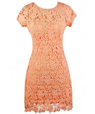 Coral Pink Lace Dress, Cute Peach Lace Sheath Dress, Coral Peach Pink Lace Summer Dress, Cute Lace Dress, Crochet Lace Sheath Dress