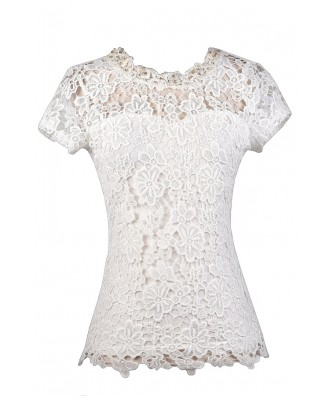 Off White Lace Top, Cute Lace Top, Ivory Lace Top, Off White Lace and Pearl Top, Lace Capsleeve Top, Cute Summer Top, Lace Summer Top, Ivory Lace Top