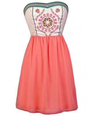 Cute Pink Dress, Pink Summer Dress, Pink Embroidered Dress, Pink A-Line Dress, Cute Pink Dress, Cute Boho Dress, Boho Embroidered Dress
