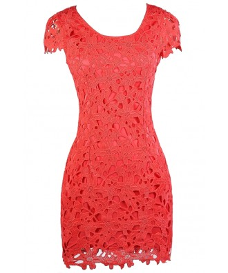 Cute Coral Dress, Coral Lace Dress, Coral Capsleeve Lace Dress, Coral Lace Party Dress, Coral Summer Dress