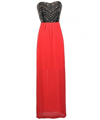 Coral maxi Dress, Coral Red and Black Maxi Dress, Embellished Coral Maxi Dress, Rhinestone Coral Maxi Dress, Coral Red Formal Dress