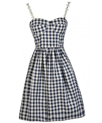 Gingham Pattern Dress, Navy Gingham Dress, Gingham Sundress, Gingham A-Line Dress, Gingham Party Dress, Navy and Beige Gingham Dress, Cute Summer Dress, Gingham Summer Dress