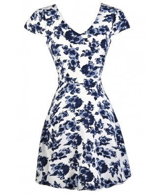 Blue and White Floral Print Dress, Blue and White Capsleeve Floral Dress, Blue and White Print Summer Dress, Blue and White A-line Dress, Blue and White Summer Dress, Cute Blue Dress, Blue Sundress