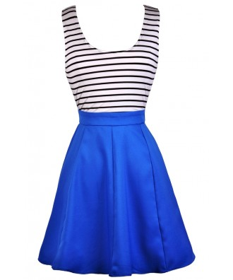 Cute Blue Dress, Blue Black and White Stripe Dress, Bright Blue Nautical Stripe Dress, Blue Stripe Open Back Dress, Blue Black and White Stripe Party Dress, Cute Summer Dress, Bright Blue Party Dress, Bright Blue Summer Dress, Bright Blue Sundress