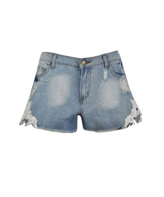 Cute Jean Shorts, Cute Denim Shorts, Crochet Lace Jean Shorts, Lace Side Denim Shorts, Cute Summer Shorts, Cutoff Denim Shorts