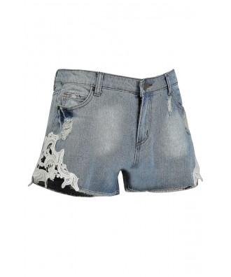 Cute Jean Shorts, Cute Denim Shorts, Lace Side Denim Shorts ...