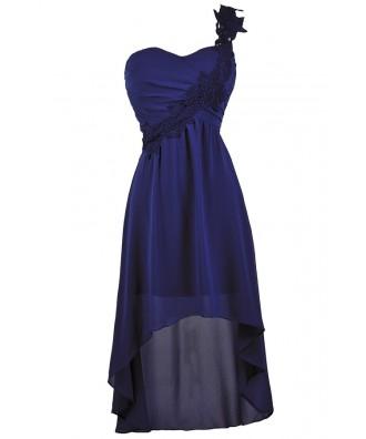 Royal Blue High Low Dress, Cute Blue Dress Bright Blue One Shoulder High Low Dress, Royal Blue Party Dress, Royal Blue High Low Cocktail Dress