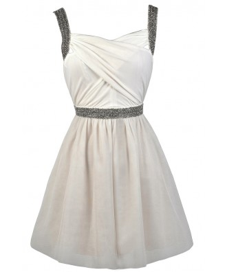 Ivory and Grey Beaded Rehearsal Dinner Dress