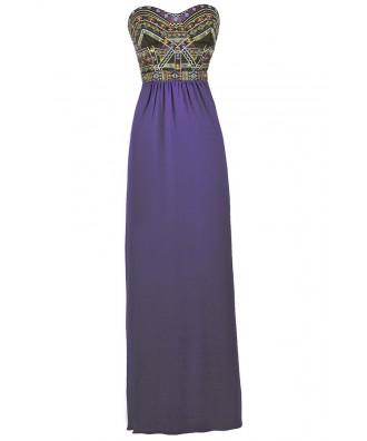 Cute Maxi Dress, Blue Embroidered maxi Dress, Summer Maxi Dress, Blue Purple Embroidered Dress, Bright Blue and Black Embroidered Maxi Dress