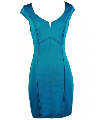 Teal Blue Pencil Dress, Teal Capsleeve Dress, Turquoise Blue Dress, Summer Pencil Dress