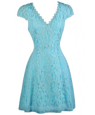 Sky Blue Lace Dress, Pale Blue Lace Dress, Sky Blue Capsleeve Lace Dress, Pale Blue Capsleeve Lace Dress, Sky Blue Lace Party Dress, Pale Blue Capsleeve A-Line Lace Dress