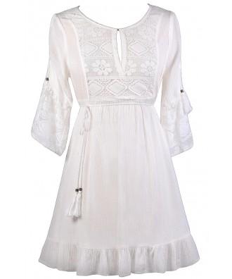 Cute White Dress, White Sundress, White Summer Dress, White Boho Dress, Cute Hippie Dress