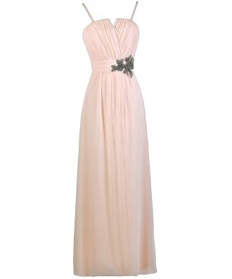 Light Pink Maxi Dress, Pale Pink Maxi Bridesmaid Dress, Embellished Pink Maxi Dress, Beaded Pink Prom Dress, Cute Pink Dress, Pink Formal Dress, Pink Prom Dress