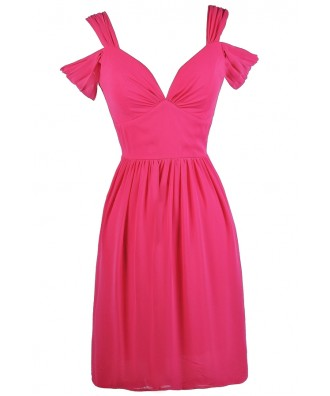 Hot Pink Dual Strap Dress, Bright Pink Off Shoulder Dress, Hot Pink Party Dress, Bright Pink Sundress, Cute Pink Dress