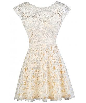 Cute Beige Dress, Beige Lace Dress, Beige Lace A-Line Dress, Beige Lace Party Dress, Beige Lace Rehearsal Dinner Dress, Beige Lace Bridal Shower Dress