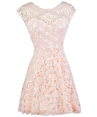 Pink Lace Dress, Light Pink Lace Dress, Pale Pink Lace Dress, Light Pink Lace Party Dress