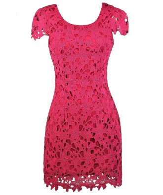 Hot Pink Lace Dress, Hot Pink Dress, Cute Bright Pink Dress ...