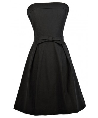Black Strapless Dress, Little Black Dress, Black Party Dress, Black A-Line Dress, Black Bow Dress, Black Cocktail Dress