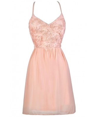 Pale Pink Dress, Pink Party Dress, Blush Pink Dress, Light Pink Dress, Pink Rosette Dress