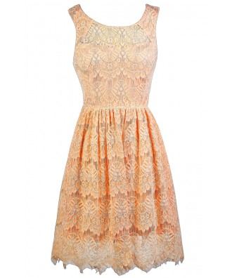 Cute Peach Dress, Peach Lace Dress, Peach Bridesmaid Dress, Cute Summer Dress, Peach Lace A-Line Dress