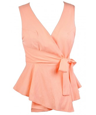 Cute Peach Top, Peach Wrap Top, Cute Summer Top