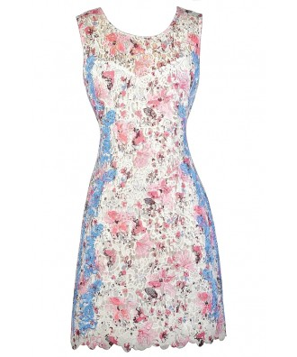 Pink and Blue Lace Dress, Pink Ivory and Blue Sheath Dress, Lace Sheath Dress, Cute Lace Dress