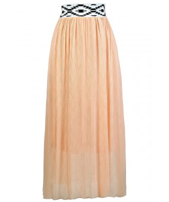 Cute Maxi Skirt, Peach Maxi Skirt, Summer Maxi Skirt