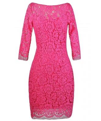 Hot Pink Lace Sheath Dress, Cute Hot Pink Dress, Hot Pink Lace ...