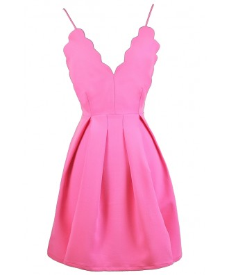 Hot Pink Party Dress, Bright Pink Sundress, Pink A-Line Dress, Pink Scalloped Dress, Bright Pink Sundress