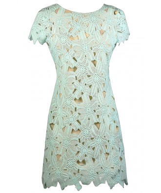 Mint and Beige Lace Dress, Cute Mint Dress, Mint Lace Sheath Dress, Mint Summer Dress, Mint Crochet Lace Dress