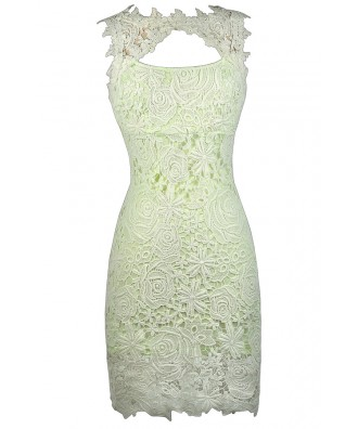 Cute Lace Dress, Lime Green Lace Pencil Dress, Cute Summer Dress, Bright Green Lace Dress