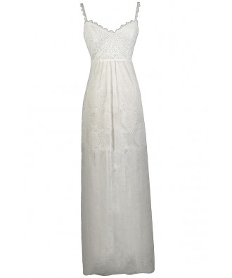 White Lace Maxi Dress, White Summer Dress, White Lace Rehearsal Dinner Dress