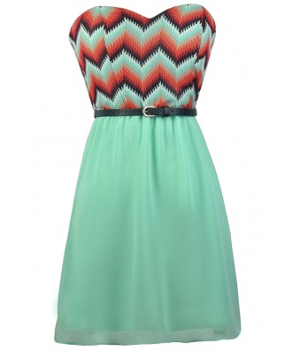 Cute Chevron Dress, Mint Chevron Dress, Chevron Belted Dress, Cute Summer Dress, Cute Belted Dress