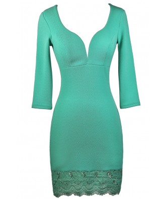 Cute Mint Lace Cocktail Dress